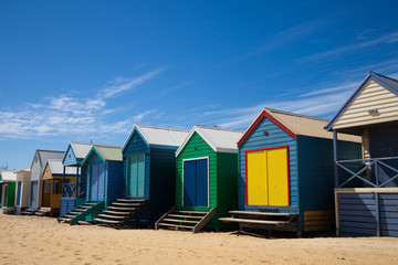 Colorful beach huts in Australia