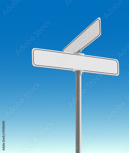 quotrealistic blank street sign vector on a blue background