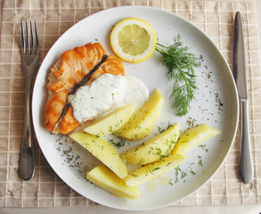 Grilled salmon with potato