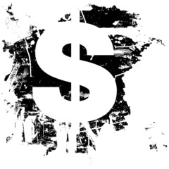 Grunge dollar sign currency icon