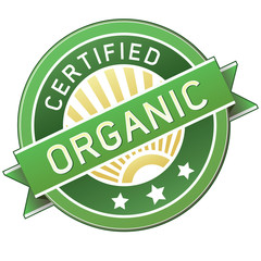 Certified organic food or product packaging label