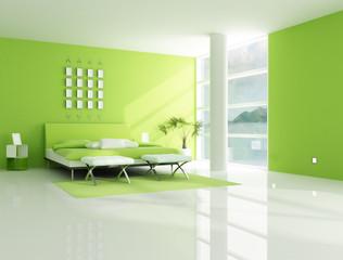 contemporary  green bedroom