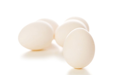 White eggs isolated on the white background