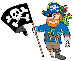 Fotorolgordijn Piraten Pirate with flag