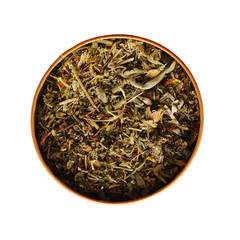dried tea plants in a tin can