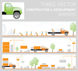 Three vector construction and development banners