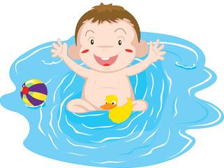 Foto op Plexiglas Rivier, meer baby playing