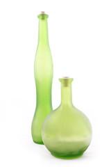 Green bottles/vases on a white background