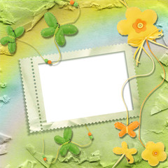 rainbow background with stamp-frames