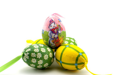 The isolated photo of Easter eggs