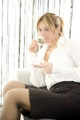 woman having her coffee