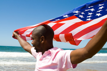 man and flag