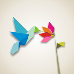Wall Murals Geometric animals Origami hummingbird