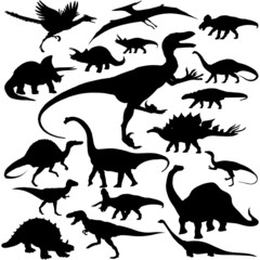19 pieces of vectoral dinosaur silhouettes