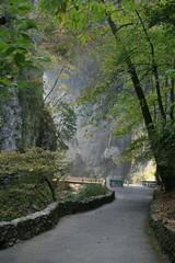 stone walled walkway at Natural Bridge, Va