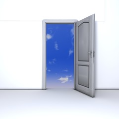 Plain front door seen open from inside and sky seen outside