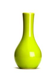 green vase isolated on white background