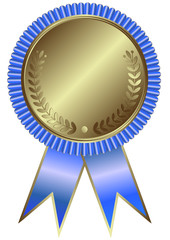 Silvery medal with blue ribbon on white background
