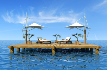 holiday dream-two deckchair on dock over  sea - rendering