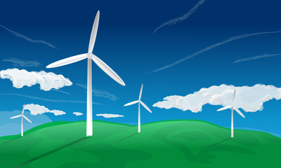 Windfarm generators on grassy landscape