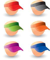 Multiple colored baseball visors on heads
