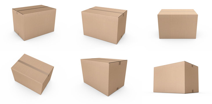 Closed cardboard boxes