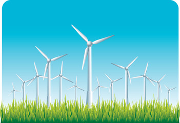 windmills on the countryside