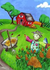 Farm mit Vogelscheuche