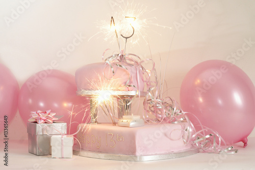 Pink Birthday Cake With Sparklers