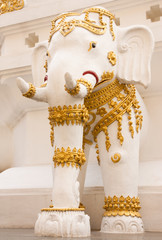 Elephants in traditional Thai style molding art