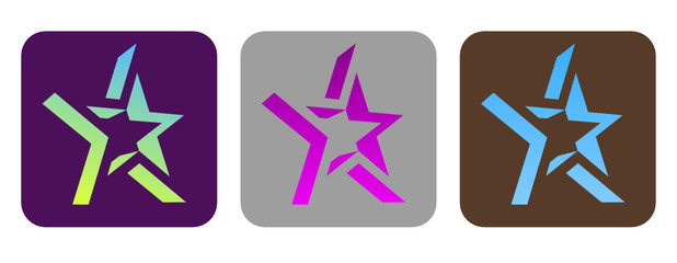 Set of vector funky stars