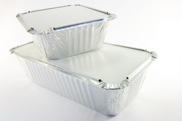 One rectangle and one square catering trays