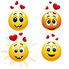 Smiling balls falling in love