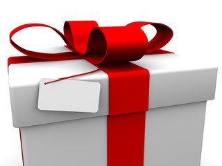 Gift box with blank card.