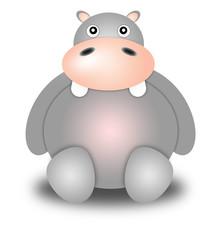 hippopotamus. Illustration cartoon style. white background