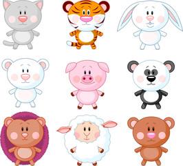 Cute animals cartoon set. Vector