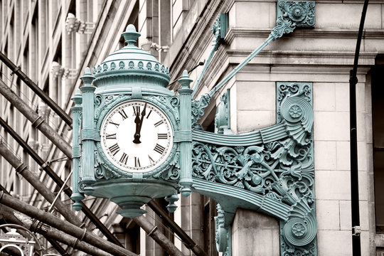 Marshall Field's Clock on State Street in Chicago