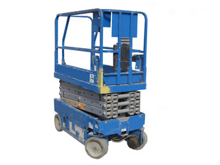Blue Construction Scissor Lift Vehicle