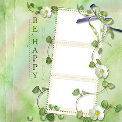 green shabby background with stamp-frames
