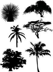 six tree silhouettes