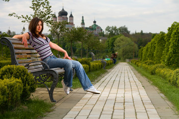 girl on bench in the park