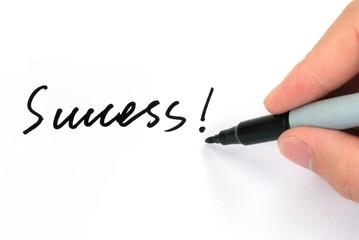"Pen writing ""Success!"""