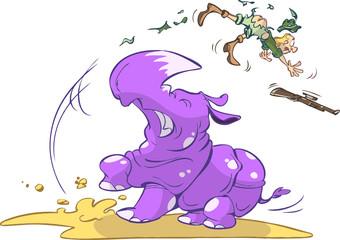 hunter caught by rhino