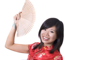 traditional chinese girl with fan