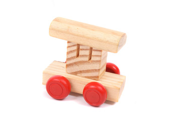 Wood train as toy for children.