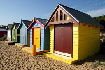 Bathing boxes at Brighton beach, Melbourne