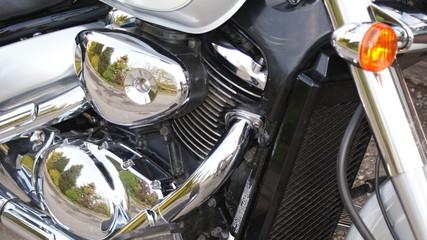 Chrome motorbike engine
