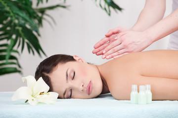 Pretty woman enjoy back massage