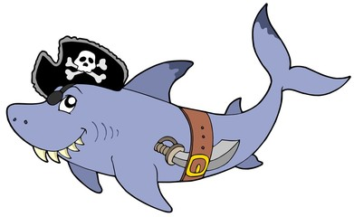 Cartoon pirate shark