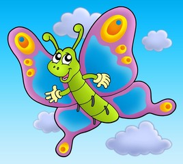 Cute cartoon butterfly on sky
